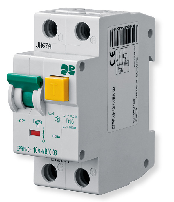 Wyłącznik nadprądowy z modułem różnicowym EPRPN6-10/1N/B/0,03 firmy Elektro-Plast Nasielsk
