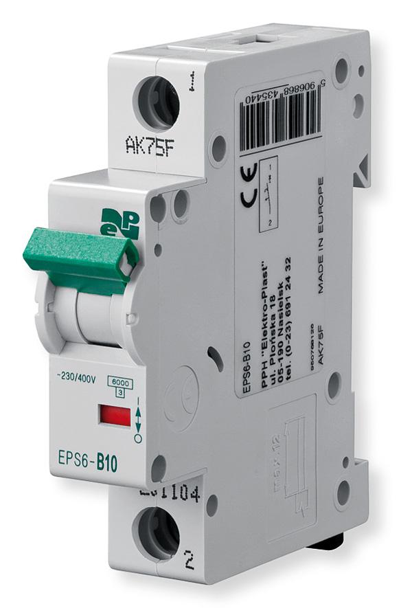 Wyłącznik nadprądowy EPS6-B10 firmy Elektro-Plast Nasielsk o prądzie znamionowym In 10 A
