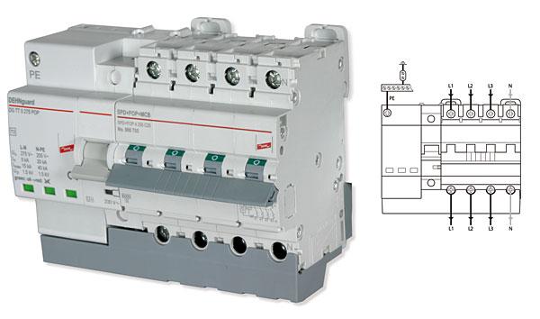 Rys. 6.  Wygląd i schemat podłączenia ogranicznika  do instalacji elektrycznej trójfazowej