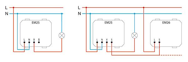 Rys. 3. Podłączenie trójprzewodowe ściemniacza Touch a – samego EM25, b – EM25 z EM26
