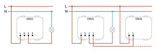 Rys. 4. Podłączenie dwuprzewodowe ściemniacza Touch: a – samego EM25, b – EM25 z EM26