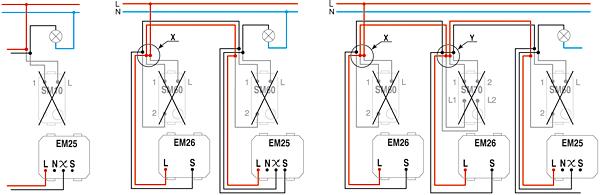 Rys. 7. Schemat montażu ściemniacza przy wymianie standardowych wyłączników
