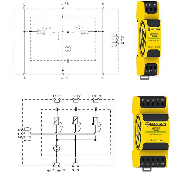Rys. 5.  Ograniczniki  przepięć typ 3:  CT-T3/Y1-230 (u góry)  i CT-T3/Y3-230