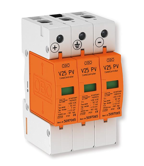 Rys. 1. Ogranicznik przepięć do systemów fotowoltaicznych Typ 1+2 firmy OBO Bettermann