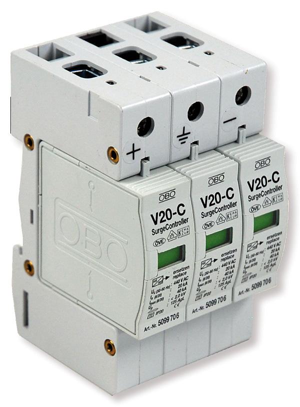 Rys. 2. Ogranicznik przepięć do systemów fotowoltaicznych Typ 2 firmy OBO Bettermann