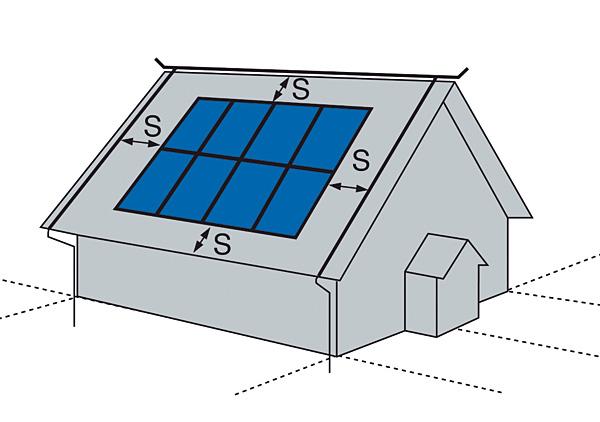 Rys. 3. Odstęp izolacyjny pomiędzy instalacją odgromową a systemem PV