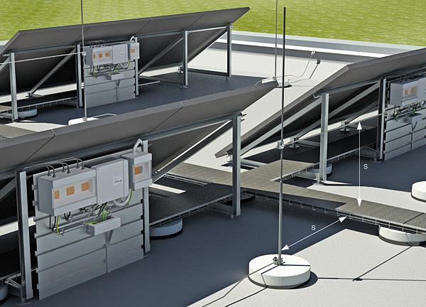 Rys. 7. Odstęp izolacyjny (s) pomiędzy instalacją odgromową a kablowym systemem nośnym