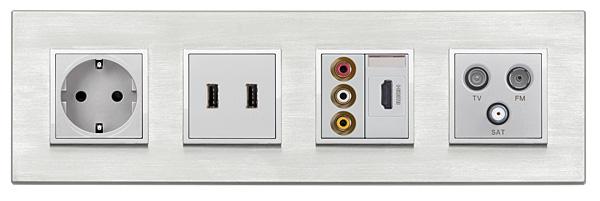 Rys. 6. Ramka czterokrotna w standardzie niemieckim, do puszek łączonych (gniazdo zasilające, USB, RCA, HDMI, TV-FM-SAT)