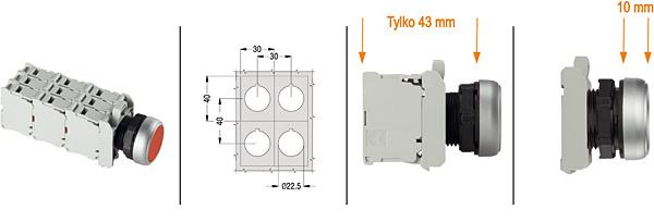 Wymiary montażowe przycisków Platinum