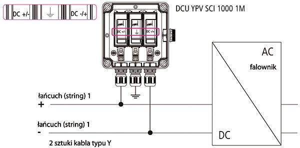 Rys. 4. Podłączenie ogranicznika DEHNcube  do instalacji PV  z pojedynczym łańcuchem (stringiem)