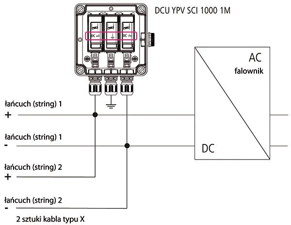 Rys. 5.  Podłączenie ogranicznika DEHNcube do instalacji PV  z dwoma łańcuchami (stringami)