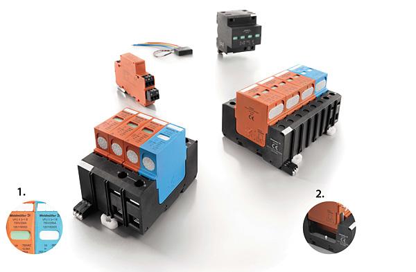 Szeroki zakres produktów VPU firmy Weidmüller dla sieci energetycznych odpowiada wymaganiom przedstawionym w normach IEC 61643-11 oraz EN 61643-11 (obowiązującej od 2013 roku). Elementy konstrukcji:  1 – centralnie umieszczone okienko ze wskaźnikiem zapewnia dobrą widoczność informacji o statusie funkcji ochronnej, 2 – odporna na wibracje wkładka ogranicznika zatrzaskuje się w cokole w sposób słyszalny i odczuwalny