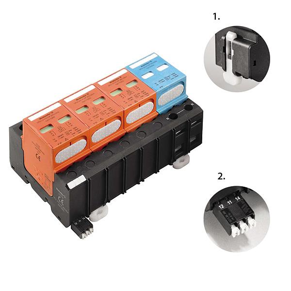 VPU klasy I zapewnia ochronę przeciwprzepięciową dzięki wykorzystaniu warystorów gazowych. Elementy konstrukcji: 1 – nowy rodzaj uchwytu cokołu pozwala na szybki montaż na szynie bez konieczności stosowania narzędzi, 2 – zestyk do zdalnej sygnalizacji może być szybko i pewnie podłączony dzięki wykorzystaniu złącza push-in