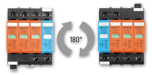 Każdy moduł VPU  może być swobodnie umieszczony w szafie  rozdzielczej, dzięki  możliwości obrotu  cokołu o 180o.  Zapewnia to również  najkrótszą drogę do  przewodu wyrównawczego dla prądu piorunowego