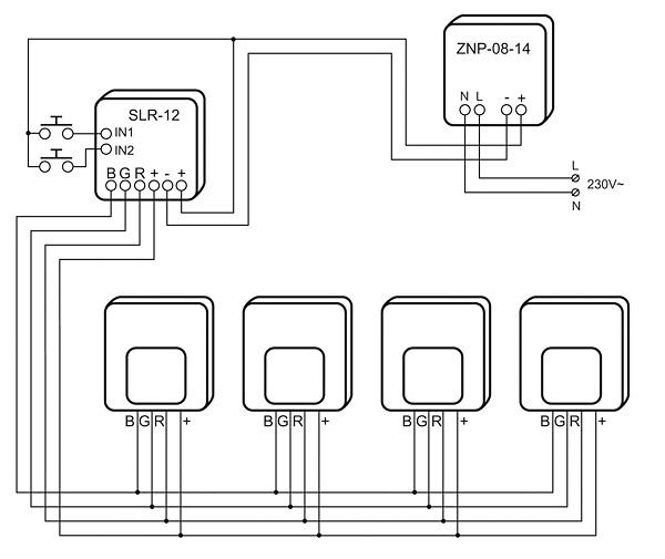 Rys. 3. Instalacja 4-żyłowa. Standardowe oprawy Ledix z diodami RGB wraz z zewnętrznym sterownikiem RGB
