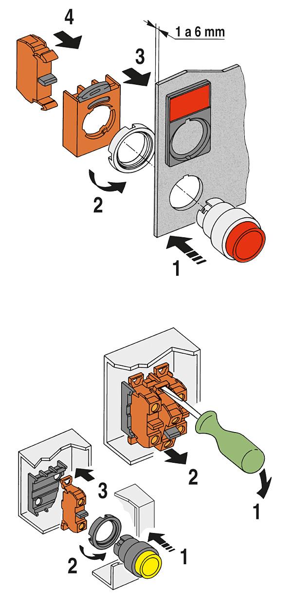 Rys. 4. Montaż w pulpicie (u góry) oraz na płycie