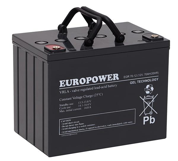 Rys. 1.  Europower EGR 70-12 – akumulator wykonany  w technologii żelowej;  o żywotności projektowanej  10-12 lat, przeznaczony do pracy buforowej oraz cyklicznej  w skrajnie trudnych warunkach, takich jak wysoka temperatura otoczenia, głębokie rozładowania i duża liczba cykli