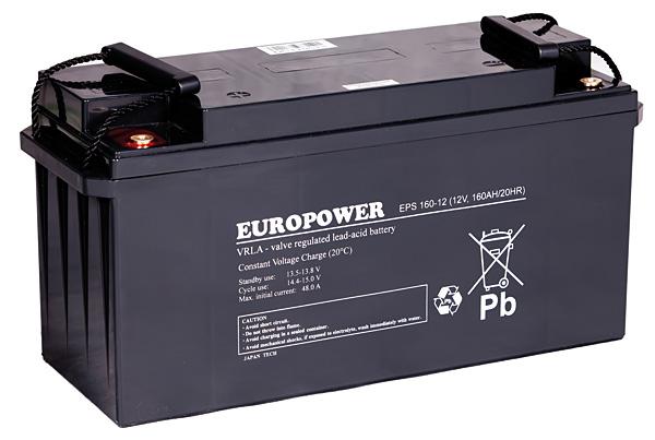 Rys. 3. Europower EPS 160-12 – akumulator wykonany w technologii AGM; o żywotności projektowanej:  10-12 lat. Zaprojektowany do pracy buforowej – zasilanie awaryjne – oraz cyklicznej. Wykorzystywany m.in. w energetyce, przemyśle, w systemach UPS