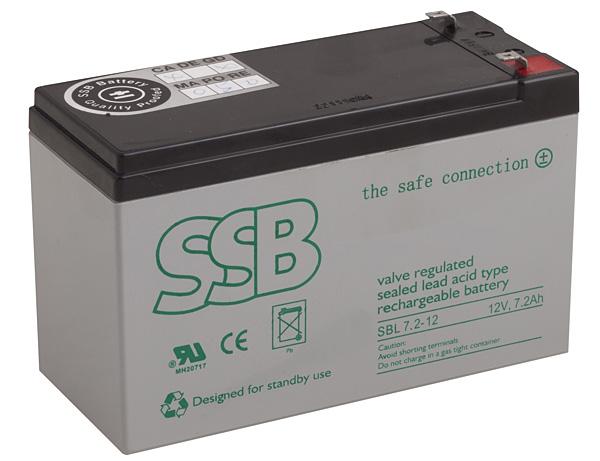 Rys. 4.  SBL 7.2-12 AGM  firmy SSB –  szczelny akumulator  kwasowo-ołowiowy  typu AGM  z zaworami  bezpieczeństwa