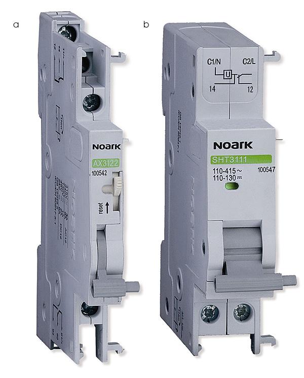 Rys. 7. Przykładowe akcesoria do wyłączników nadprądowych Noark Electric: a – styk pomocniczy typu AX, b – wyzwalacz wzrostowy typu SHT