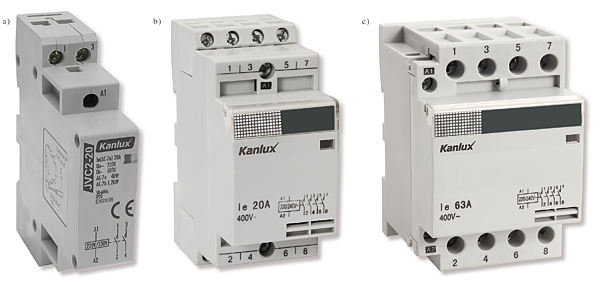 Rys. 5. Styczniki firmy Kanlux:  a – jednofazowy JVC2-20/2 (20 A / 8 kW), b – trzyfazowy JVC2-20/4 (20 A / 8 kW), c – trzyfazowy JVC2-63/4 (63 A / 25 kW)
