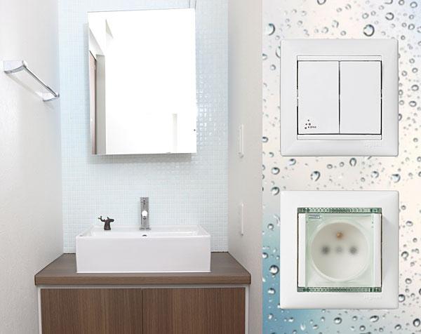 Rys. 3. Łącznik świecznikowy oraz gniazdo 2P+Z do zastosowania w łazience
