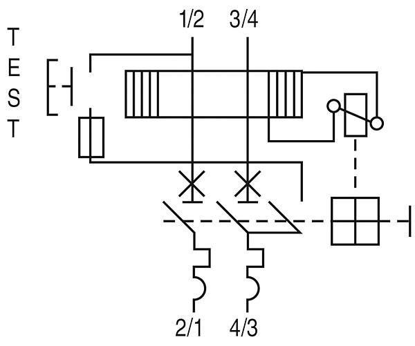 Rys. 2. Schemat budowy i podłączenia wyłączników DPC. Kierunek zasilania (góra / dół) dowolny