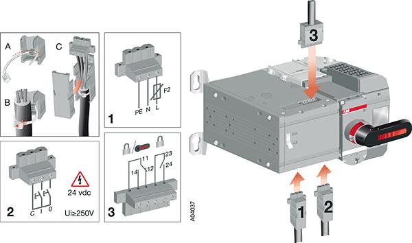 Przełącznik z napędem silnikowym OTM40..125_CM_ z osłonami zacisków