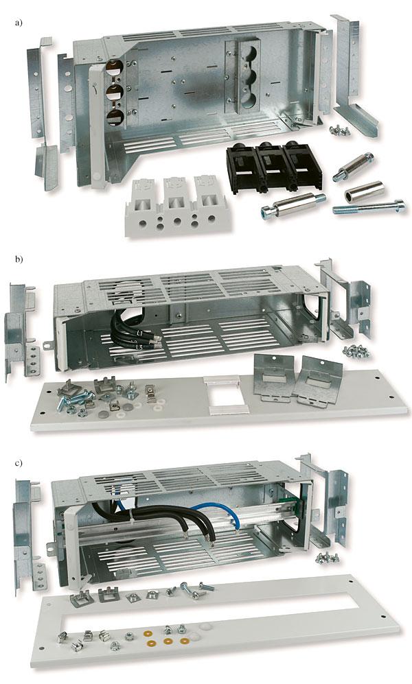 Rys. 7. Moduły wtykowe dla pól XR: a – dla wyłącznika kompaktowego NZM3, forma 2, b – dla wyłącznika silnikowego PKZ0, PKZ2, PKZ4, forma 4, c – pusty moduł wtykowy z szyną DIN do montażu aparatury modułowej, forma 4