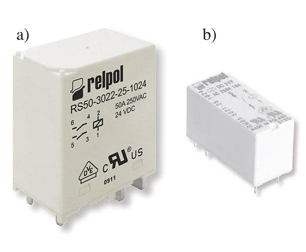 Rys. 3. Specjalistyczne przekaźniki łączeniowe Relpol: a – RS50, b – RM85 inrush